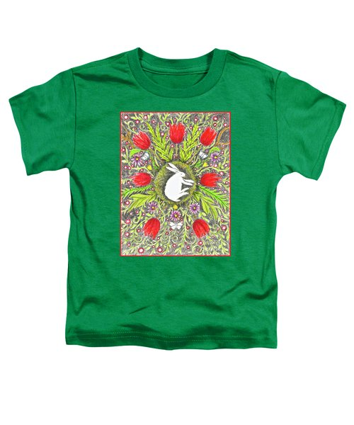 Bunny Nest With Red Flowers And White Butterflies Toddler T-Shirt