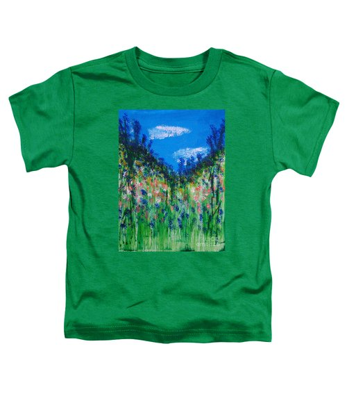 Hillside Wildflowers Mixed Media Painting Toddler T-Shirt