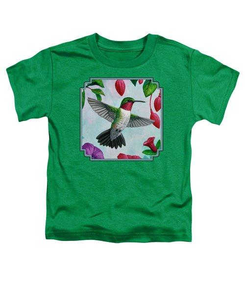 Hummingbird Flying In Spring Flower Garden 1 Toddler T-Shirt