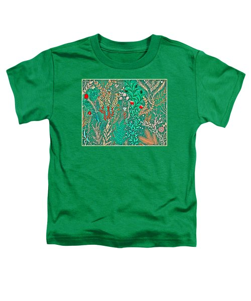 Millefleurs Home Decor Design In Brilliant Green And Light Oranges With Leaves And Flowers Toddler T-Shirt