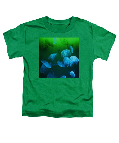 Moon Jellyfish - Blue And Green Toddler T-Shirt
