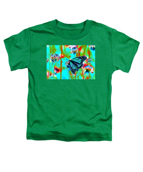 Teal Blue Monarch Butterfly Toddler T-Shirt