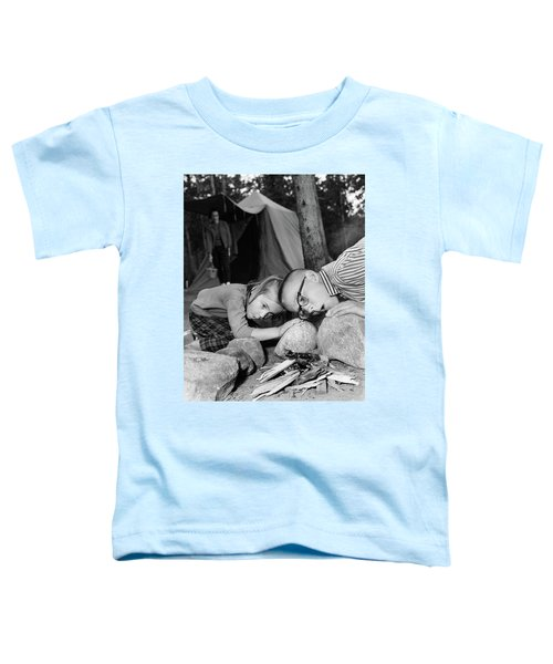 1950s Boy Girl Blowing On Campfire Toddler T-Shirt