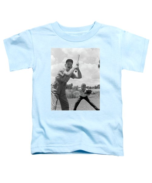 1950s Grandfather At Bat With Grandson Toddler T-Shirt
