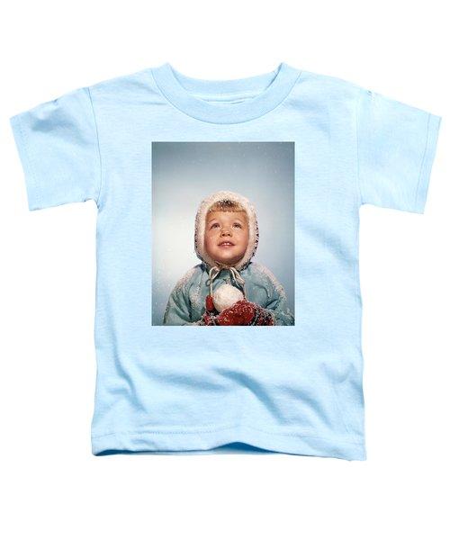 1960s Little Girl Holding Snow Ball Toddler T-Shirt