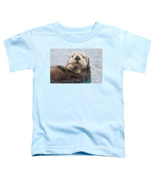 Female Sea Otter Holding Newborn Pup Toddler T-Shirt