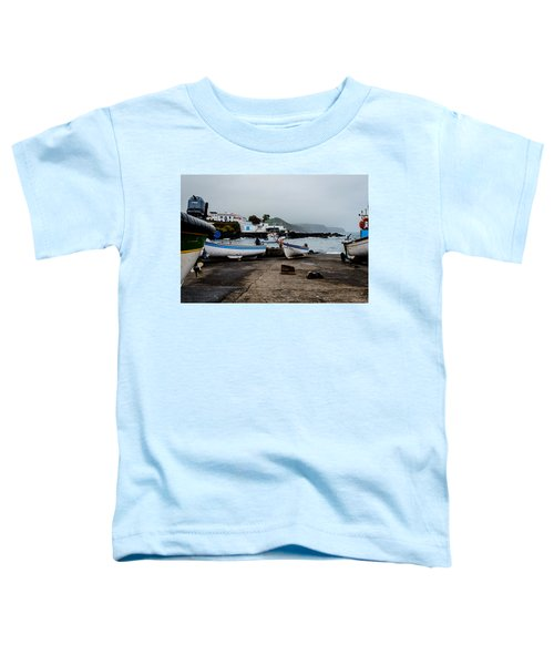 Fishing Boats On Wharf With View Of Houses  Toddler T-Shirt