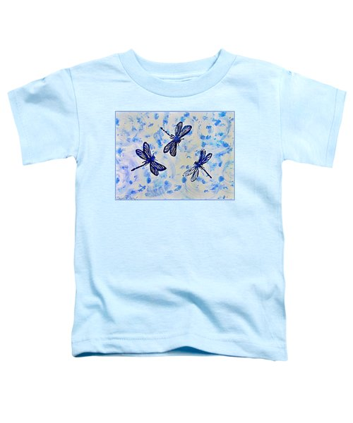 3 Blue Dragonflies Alcohol Ink Toddler T-Shirt