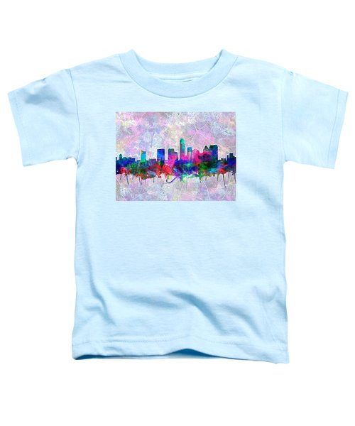 Austin Texas Skyline Watercolor 2 Toddler T-Shirt by Bekim Art