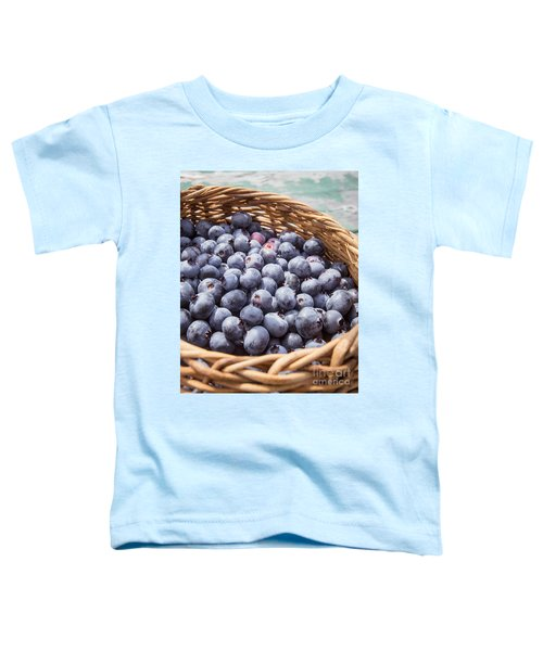 Basket Of Fresh Picked Blueberries Toddler T-Shirt by Edward Fielding