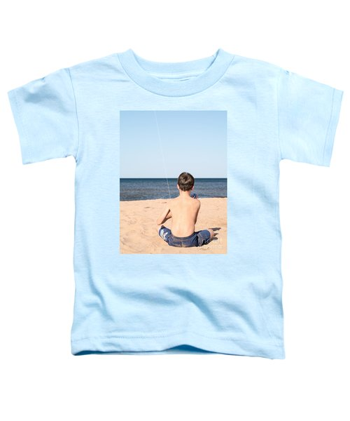 Boy At The Beach Flying A Kite Toddler T-Shirt