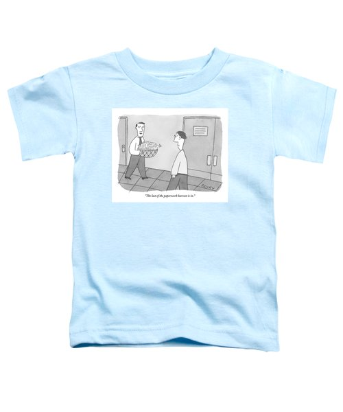 Cheerful Office Worker Holding A Basket Of Papers Toddler T-Shirt