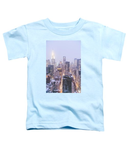 Chrysler Building And Skyscrapers Covered In Snow - New York City Toddler T-Shirt by Vivienne Gucwa