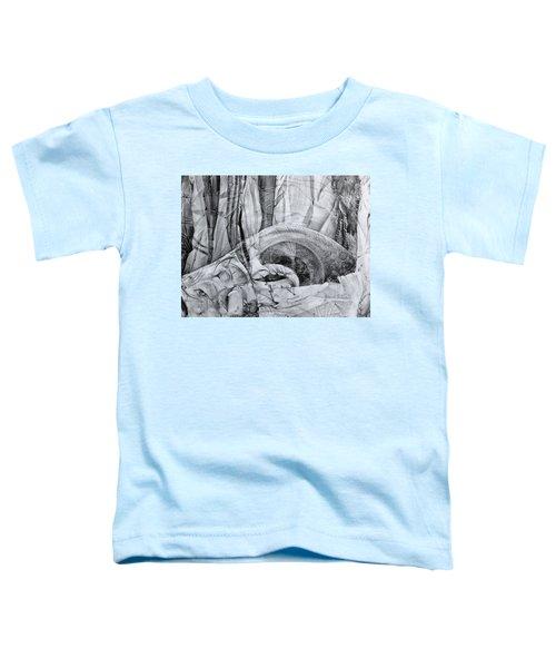 Das Monster Hat Sich Im Ungebuegelten Hintergrund Versteckt Toddler T-Shirt