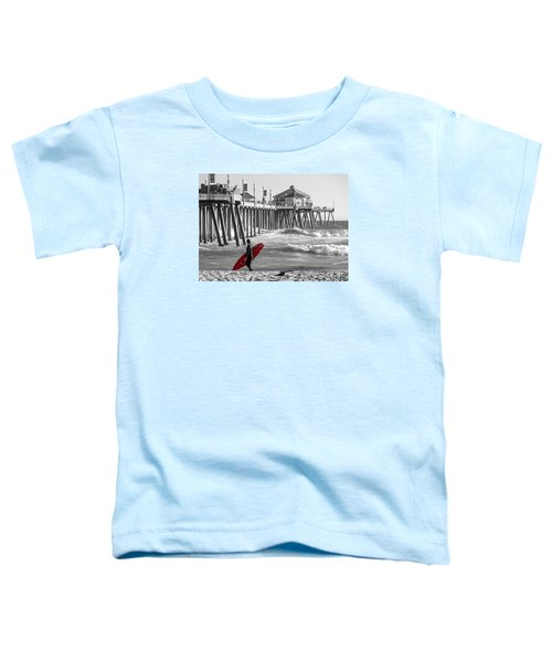 Existential Surfing At Huntington Beach Selective Color Toddler T-Shirt