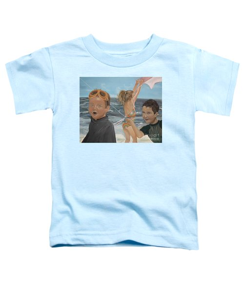 Beach - Children Playing - Kite Toddler T-Shirt