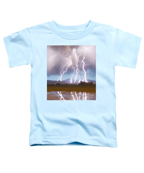 Lightning Striking Longs Peak Foothills 4c Toddler T-Shirt by James BO  Insogna