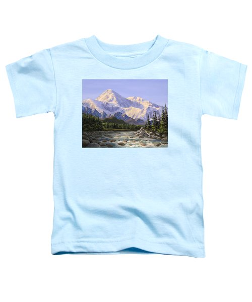 Majestic Denali Mountain Landscape - Alaska Painting - Mountains And River - Wilderness Decor Toddler T-Shirt