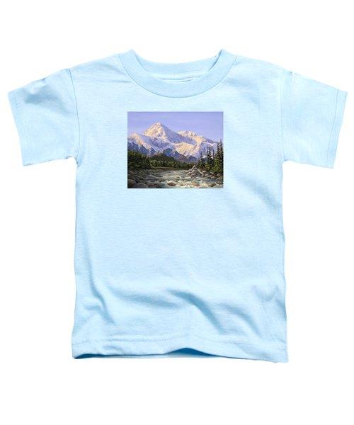 Majestic Denali Mountain Landscape - Alaska Painting - Mountains And River - Wilderness Decor Toddler T-Shirt