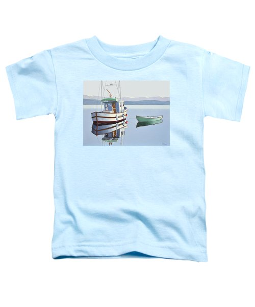 Morning Calm-fishing Boat With Skiff Toddler T-Shirt