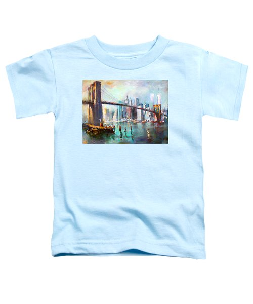 Ny City Brooklyn Bridge II Toddler T-Shirt by Ylli Haruni