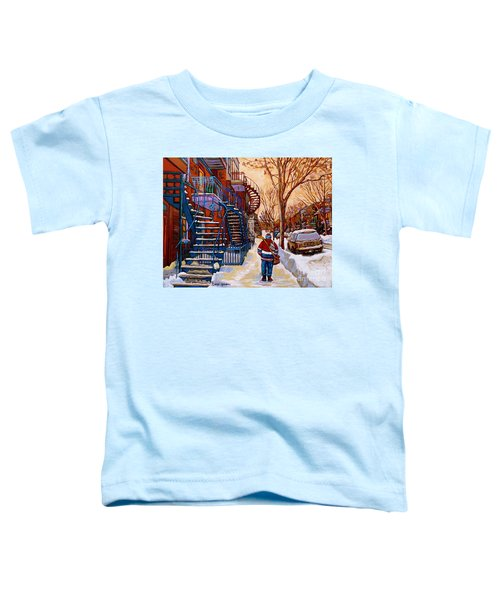 Paintings Of Montreal Beautiful Staircases In Winter Walking Home After The Game By Carole Spandau Toddler T-Shirt