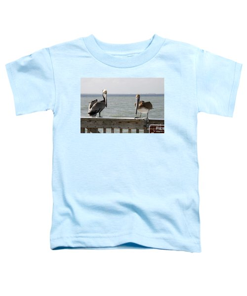 Pelicans On The Pier At Fort Myers Beach In Florida Toddler T-Shirt