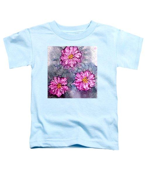 Pink Dahlia Blooms Alcohol Inks Toddler T-Shirt