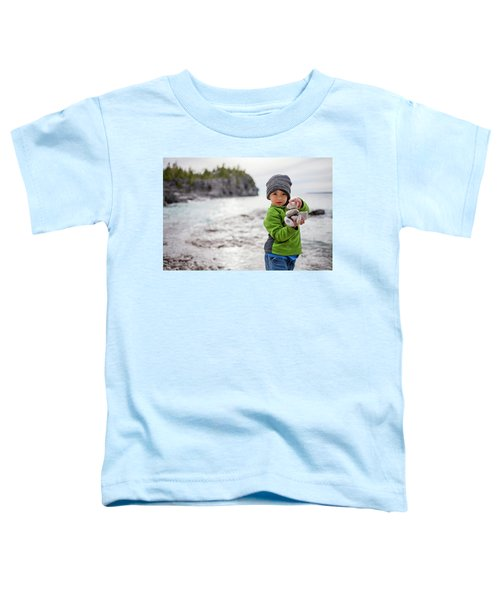 Portrait Of Little Boy Standing At Lake Toddler T-Shirt