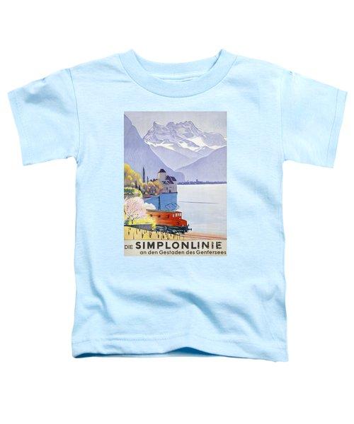 Poster Advertising Rail Travel Around Lake Geneva Toddler T-Shirt