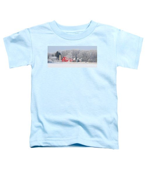 Red Barn Frosty Morning Panorama1 Toddler T-Shirt by Jack Schultz