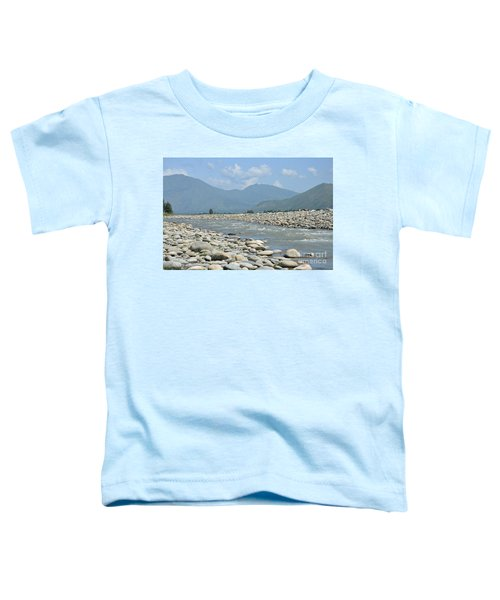 Riverbank Water Rocks Mountains And A Horseman Swat Valley Pakistan Toddler T-Shirt