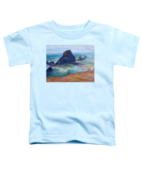 Rocks Heading North - Scenic Landscape Seascape Painting Toddler T-Shirt