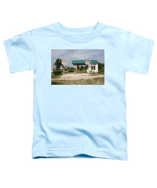 Route 66 Gas Station With Sponge Painting Effect Toddler T-Shirt