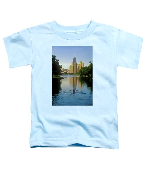 Rower On Chicago River With Skyline Toddler T-Shirt