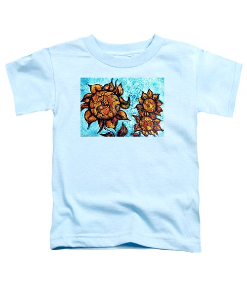 Sunflower Patchwork Delight Alcohol Inks Toddler T-Shirt