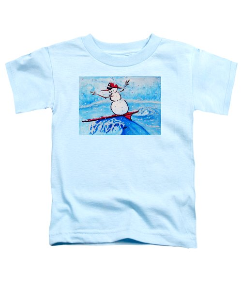 Surfing Snowman Toddler T-Shirt