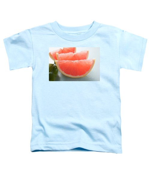 Three Pink Grapefruit Wedges, Leaves Beside Them Toddler T-Shirt