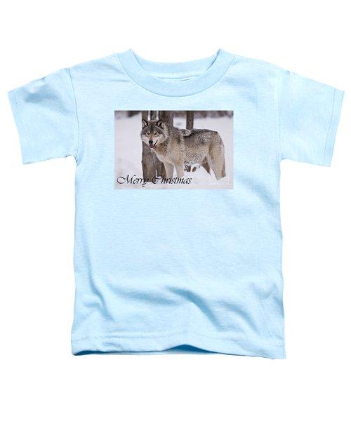 Timber Wolf Christmas Card English 3 Toddler T-Shirt