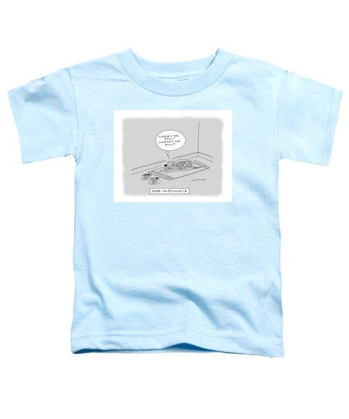 Title: Dog Insomnia. A Dog At Night Thinking Toddler T-Shirt