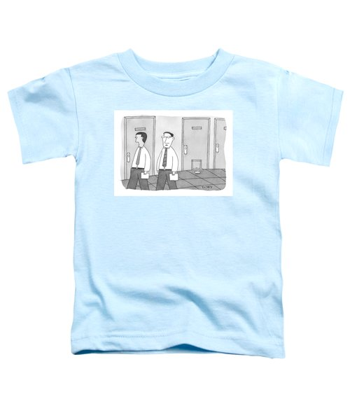 Two Men Walk Past An Office With A Doggie Door Toddler T-Shirt
