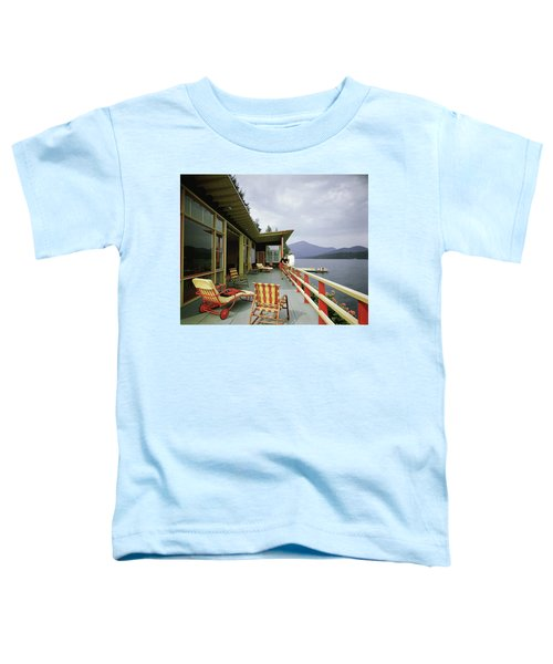 Two Women On The Deck Of A House On A Lake Toddler T-Shirt