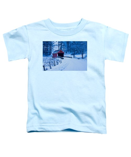 winter Vermont covered bridge Toddler T-Shirt