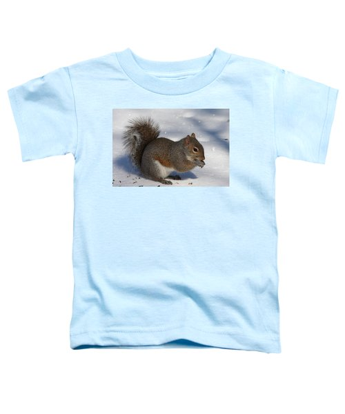 Gray Squirrel On Snow Toddler T-Shirt