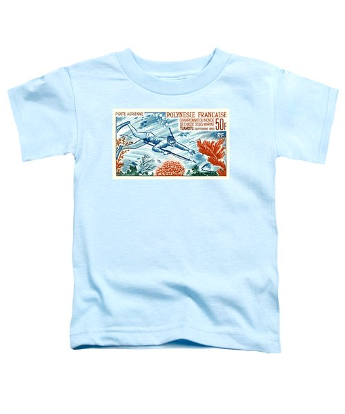 1965 French Polynesia Spearfishing Postage Stamp Toddler T-Shirt