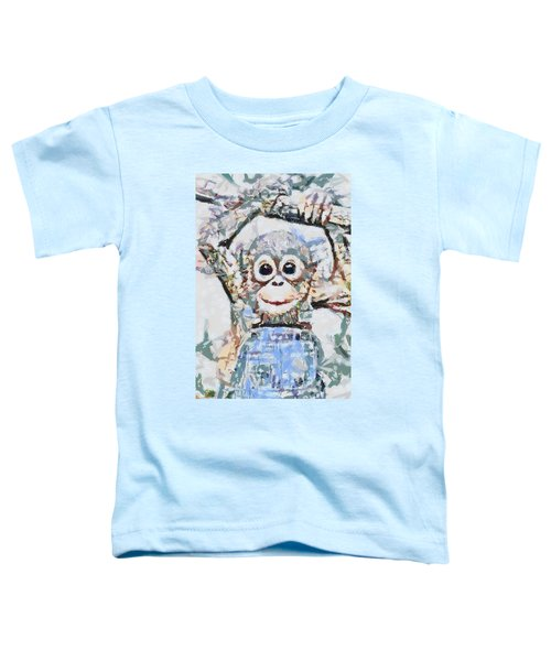 Monkey Rainbow Splattered Fragmented Blue Toddler T-Shirt