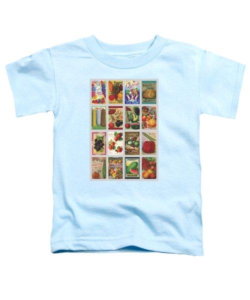 Vintage Farm Seed Packs Toddler T-Shirt by Debbie Karnes
