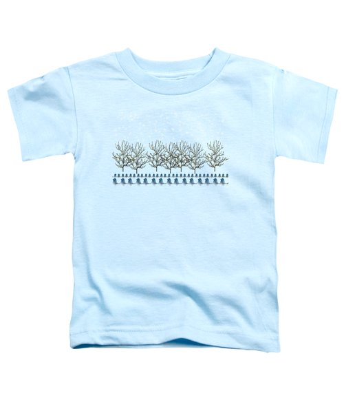 Winter Bluebirds In The Snow Toddler T-Shirt by Anne Kitzman