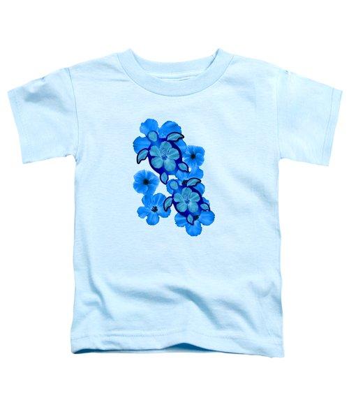 Blue Hibiscus And Honu Turtles Toddler T-Shirt by Chris MacDonald