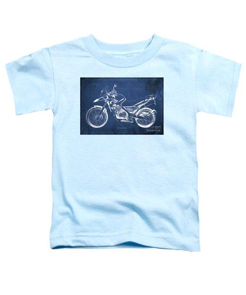 2010 Bmw G650gs Vintage Blueprint Blue Background Toddler T-Shirt